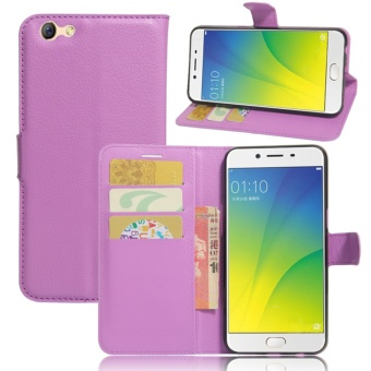 Leather Flip Cover Phone Case Wallet Card Holder For OPPO F3 (Purple) - intl