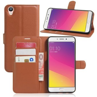 Leather Wallet Flip Cover Case For Oppo F1 Plus (Brown) - intl