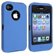 Leegoal Blue/Black Body Armor Defender Three Layer Silicone PC CaseCover .