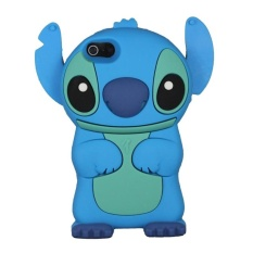 Leegoal Dark Blue Cute 3D Stitch with Movable Ears Silicone RubberSoft Case Cover