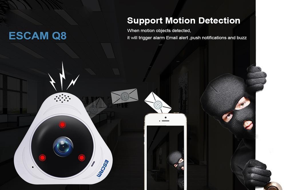leegoal Escam Q8 360 Degree Fisheye Panoranic 960P HD H.264 Wifi Wireless Infrared IP ...