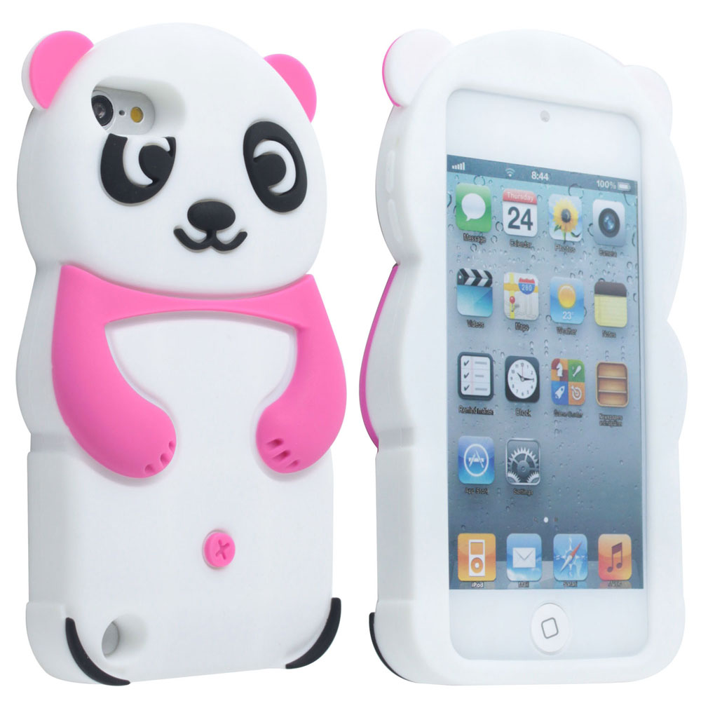 Leegoal Hot Pink Cute 3D Panda Soft Silicone Gel Case Cover for iPod .