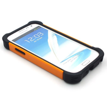 Harga Leegoal jeruk PC hitam silikon Combo dampak tinggi baja penutup Case Untuk Samsung Galaxy Note