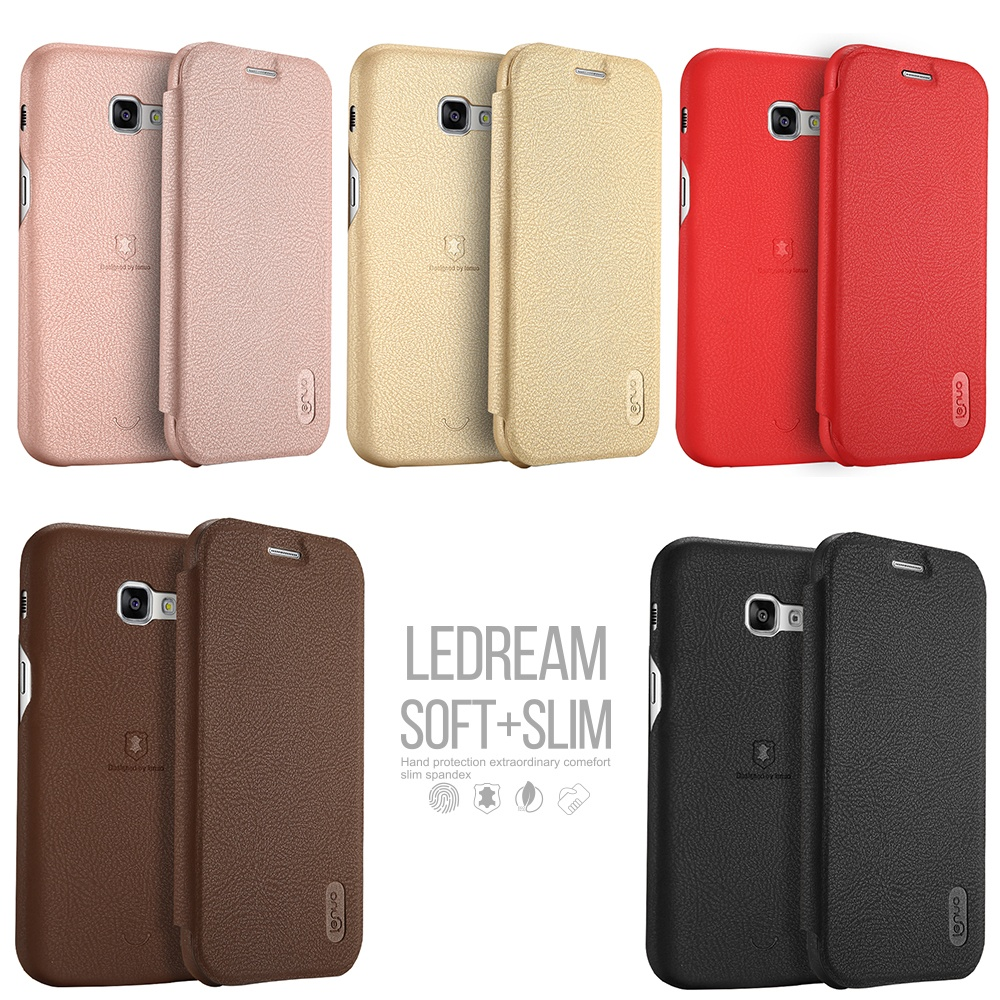 Lenuo Luxury Soft Leather Ultra Thin Flip Cover Case with Card Bagfor Samsung Galaxy A5 2017