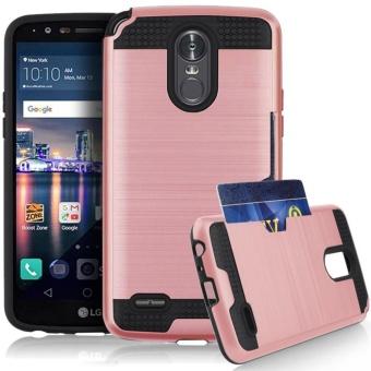 LG Stylo 3 / Stylo 3 Plus / LG Stylus 3 Case, Jwest Hybrid DualLayer Defender Credit Card Slot Holder Hard Protective Case Coverfor LG Stylo 3 / Stylo 3 Plus / Stylus 3 LS777 / LG K10 Pro - intl