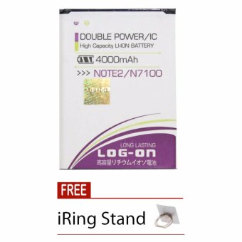 Log On Baterai Samsung Note 2 - Double Power Battery - 4000 mAh + Free iRing Stand