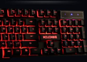LOLCF backlit gaming computer luminescence mechanical touchnotebook external USB wired keyboard - intl - 4