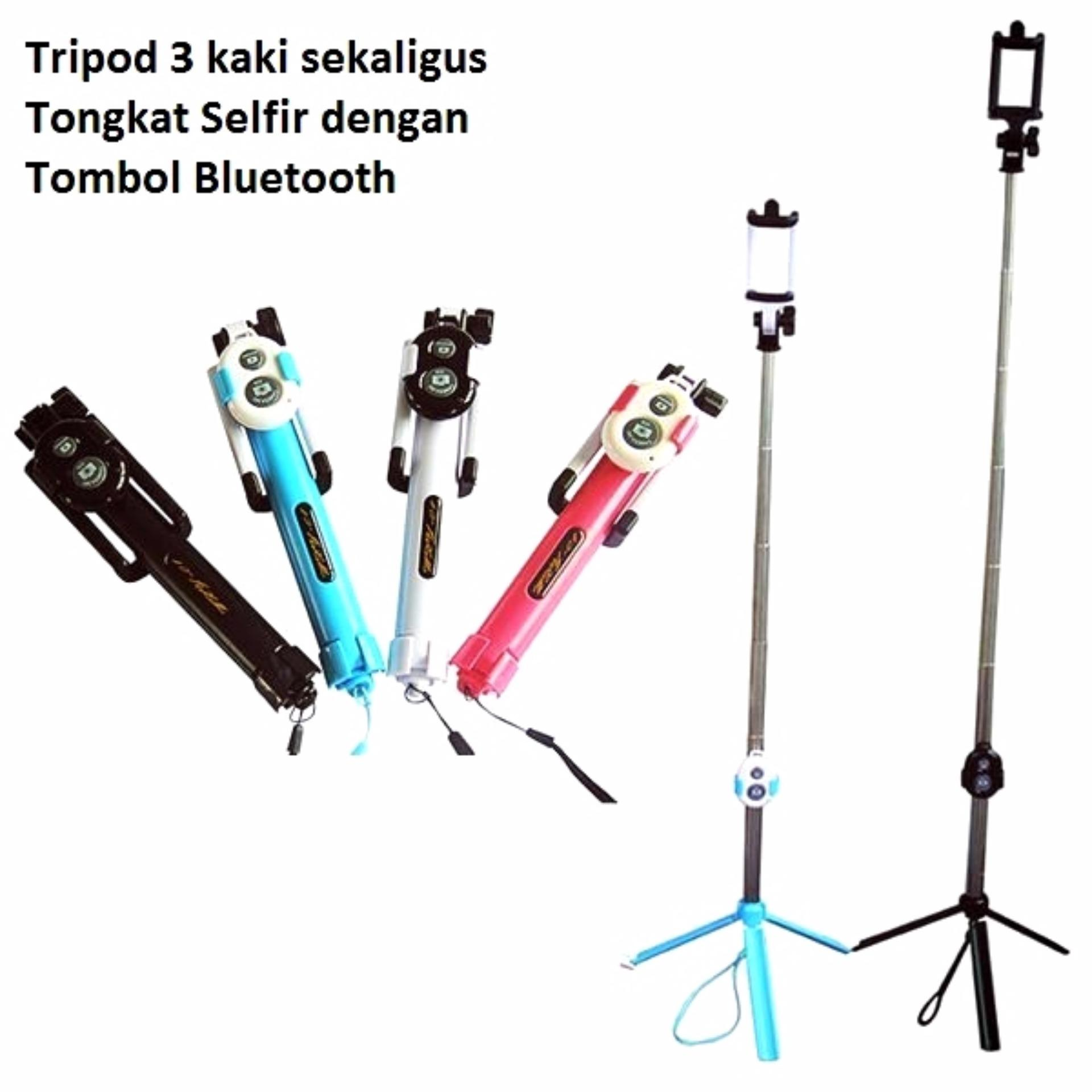 ... Lucky - Tongsis 3 in 1 With Bluetooth + Tripod Selfie Stick - Pink - 1 ...