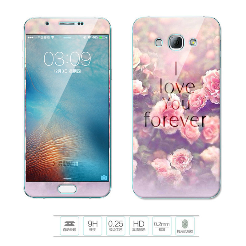 Flash Sale Luxury 3D Painting Front+Back Full Case Cover Color Tempered GlassCase For Samsung Galaxy A8 Screen Protector Film (Color-16) - intl