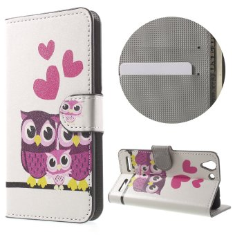 Magnetic Leather Stand Cover for Lenovo Vibe K5 Plus / Vibe K5 - Hearts and Owls - intl