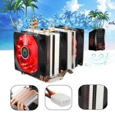 Merah LED 3 Kipas Pendingin Pendingin CPU Heatsink untuk AMD AM2/2 + AM3 Intel