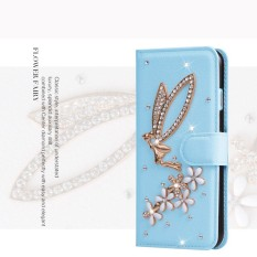 Mewah Women Handmade Rhinestone Diamond Leather Wallet Cover Case untuk Alcatel POP C1/OT4015-Intl