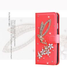 Mewah Women Handmade Rhinestone Diamond Leather Wallet Cover Case untuk HTC Desire 400-Intl