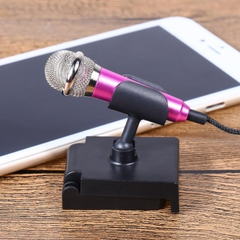 Mini Condenser Microphone with 3.5mm Plug Mobile Phone and Mic Stand(Rose) - intl - 3