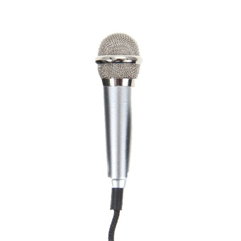 Mini Condenser Microphone with 3.5mm Plug Mobile Phone and MicStand(Silver) - intl