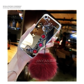 DISKON Mirror TPU + Luxury diamond chain hair ball +lanyard phone case cover for Samsung Galaxy A3 2016A310(Silver) – intl MURAH