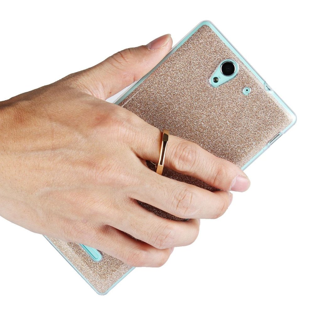 Mooncase Case For Sony Xperia C3 Glitter Bling Prints Flexible SoftTPU Protective Case Cover with Ring