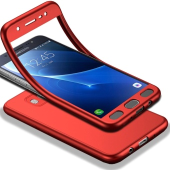 MOONCASE Full-Body Case Shockproof Soft TPU Matte Finish Slim Cover2 in 1 Full Coverage Protection with Tempered Glass ScreenProtector for Samsung Galaxy J5 2016 Red - intl