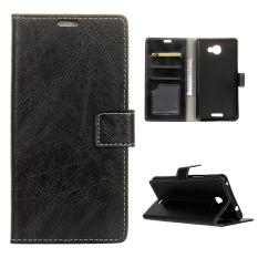 Moonmini Case untuk Alcatel OneTouch Flash PLUS 2 Kulit Kuda dengan Case Flip Stand Cover-hitam-Intl