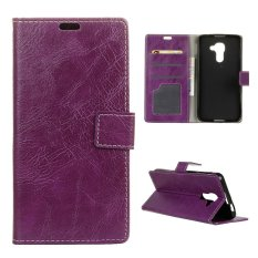 Moonmini Case for BlackBerry DTEK60 Crazy Horse Pattern PU Leather Case - Purple - intl