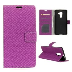 Moonmini Case for BlackBerry DTEK60 Woven Pattern PU Leather Case - Purple - intl