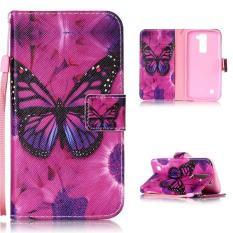 Moonmini Case untuk Lg K7 Kulit Premium Case Magnetic Flip Stand Cover-butterfly-Intl