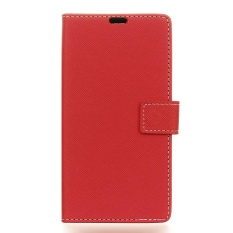 Moonmini Case untuk LG Q8 Cross Pola PU Leather Case Flip Stand Cover-Intl