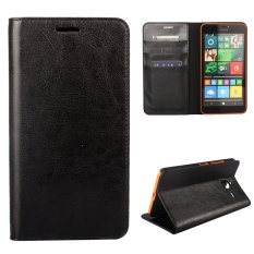 Moonmini Genuine Leather Flip Case Cover Wallet Card Slots with Stand Function for Microsoft Lumia 640 XL (Black)