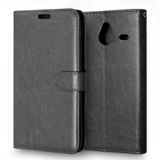 Moonmini PU Leather Flip Stand Cover for Microsoft Lumia 640 XL (Black)