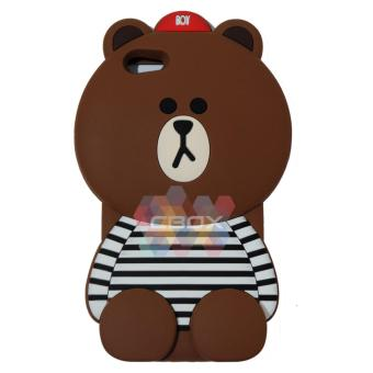 MR Soft Case 3D Animasi For Oppo R9S Plus Silicone 3D Boy Bear WithClothes Horizontal Line Black / Case HP / Casing oppo / CasingBoneka Lucu - Beruang Cokelat