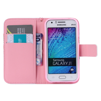 samsung side flip phones. new two side painted wallet phone cover stand flip pu leather casefor samsung galaxy j1 phones