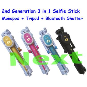 Next Tongsis 3 in 1 Selfie Stick Built In Bluetooth Tripod Biru +Lensa SuperWide + Waterproof Smartphone + Silicone Bumper 5 Pcs - 2