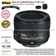 Nikon AF-S NIKKOR 50mm f/1.8G Lens (Garansi 1th) for Nikon DSLR Free Lens Hood + Lens Pouch Original