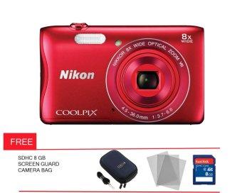 Nikon Coolpix A 100 - 20 MP - Merah + Gratis Screen Guard + Memory + Tas Kamera