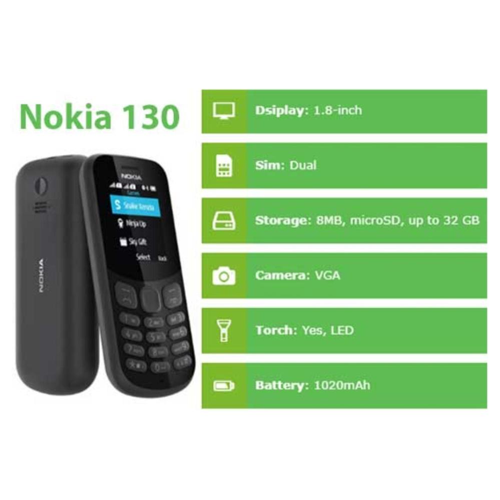 Nokia 130 New - Dual SIM - Camera - Black .