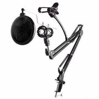 Oem Bracket Stand Mic Condenser Microphone Mikrophone & Phone Stand Holder Adjustable For Recording Hitam