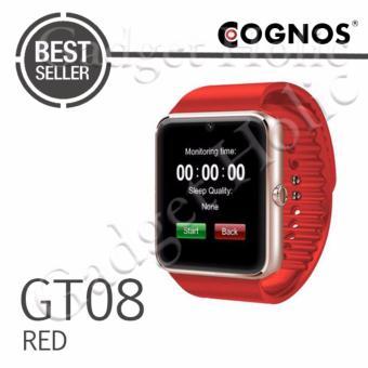 Onix Cognos - Jam Tangan Pria - Emas - Strap Rubber Merah - Smartwatch GT08