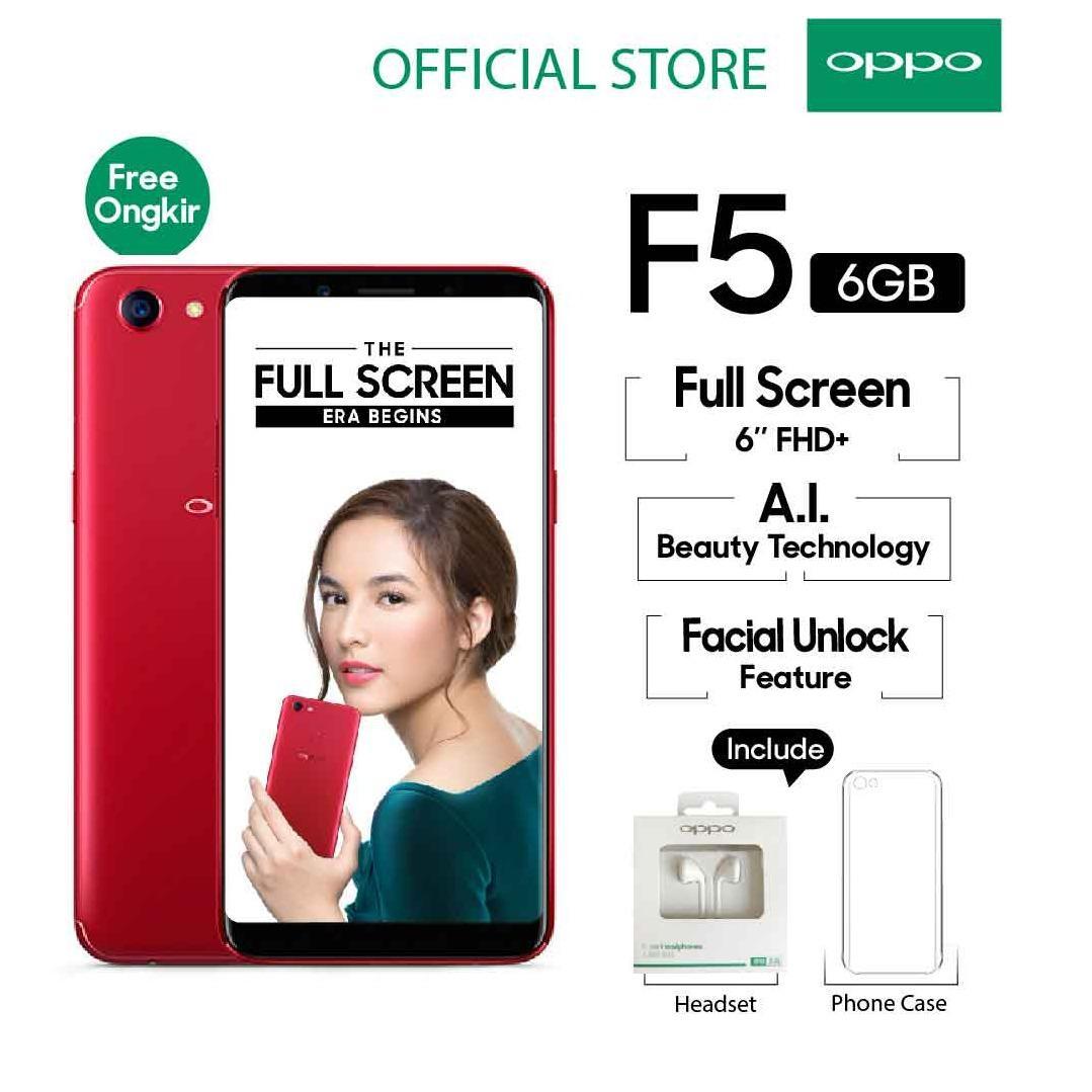 Full Metal Body Oppo F5 6GB 64GB Red Smartphone Screen 6 FHD Garansi Resmi