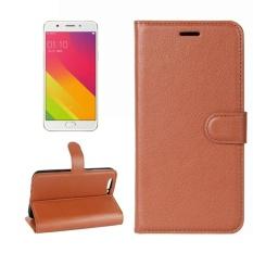 OPPO R11 Plus Lengkeng Tekstur Case Kulit Horisontal Flip dengan Pemegang dan Slot Kartu dan Dompet (Coklat) -Intl