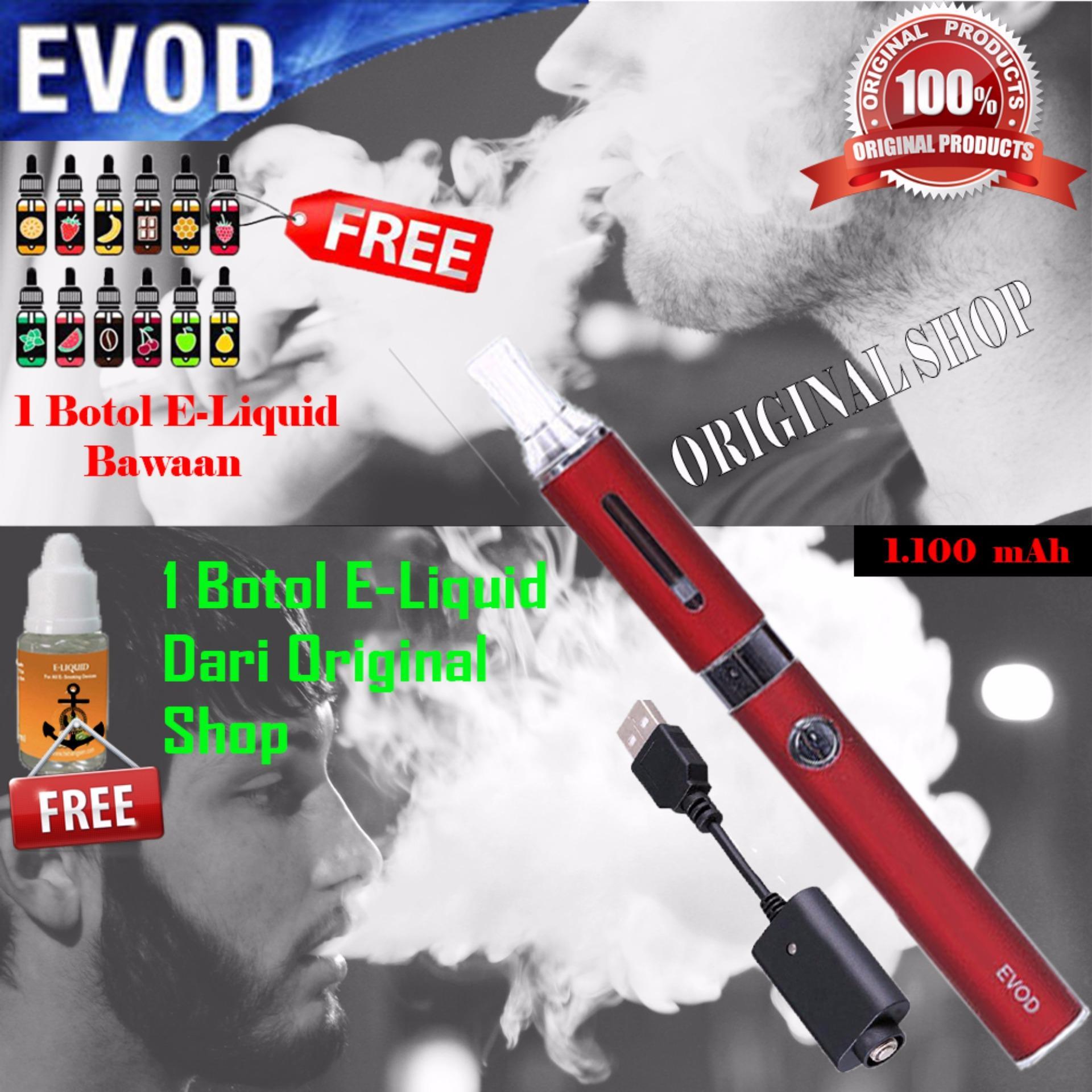 Harga Penawaran Original Evod Rokok Elektrik 1100mah Include Charger Elektric Flash Sale E Liquid Free 1 Botol Merah
