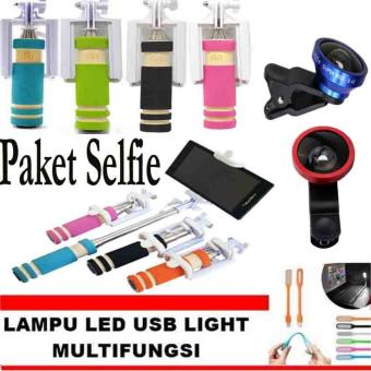 Paket Selfie Tongsis Mini Monopod Warna Random + Lensa Super Wide 0.4 X + GRATIS Lampu LED USB Lights