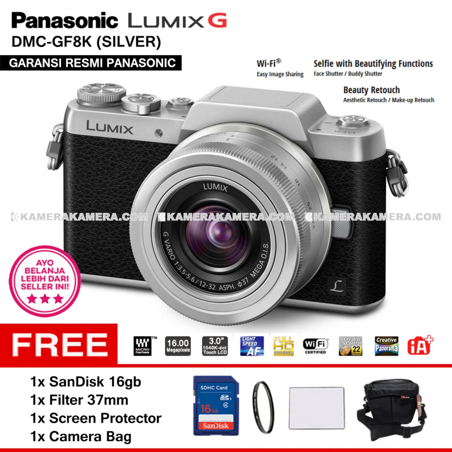 Murah Panasonic Lumix G Dmc Gf8 Orange Body Only International Kit 12 32mm Paket Gf8k Silver With Vario Wifi