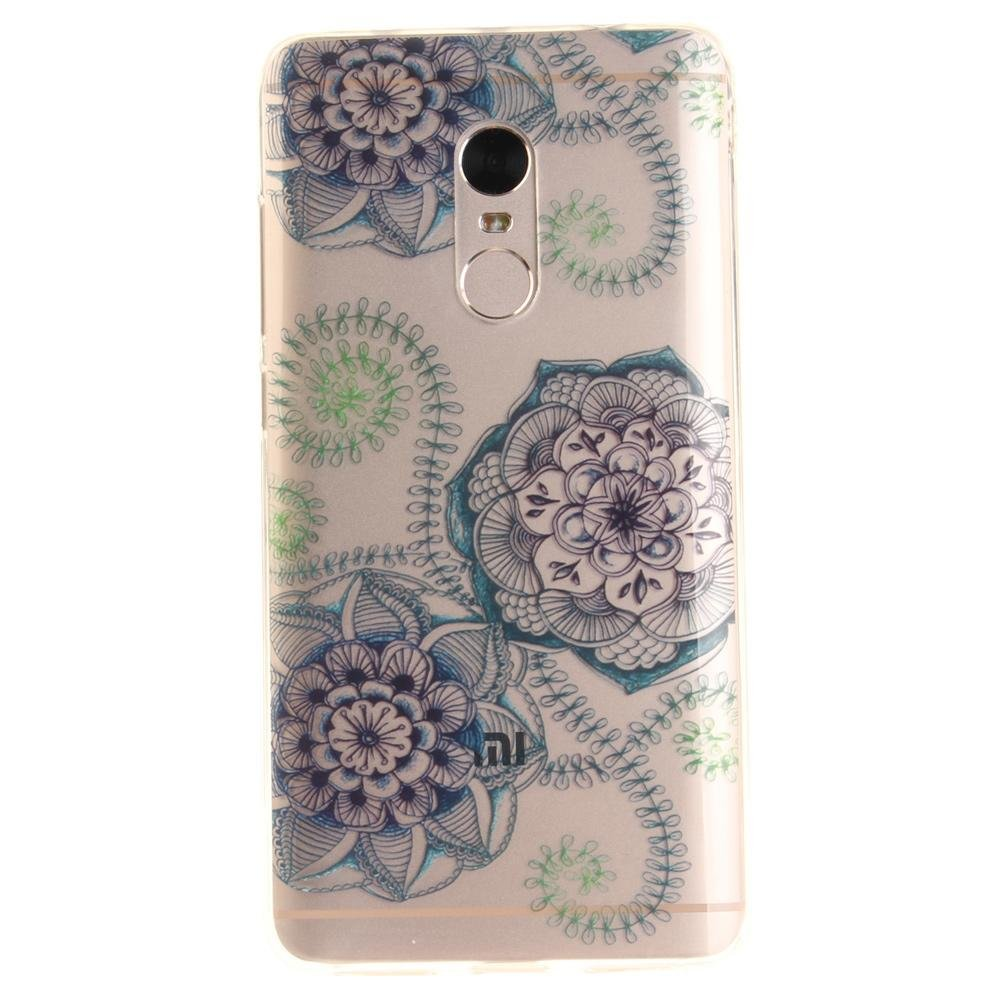 Patterned Clear IMD TPU Back Case for Xiaomi Redmi Note 4 - Blue Blossom -  intl 354eb4251f