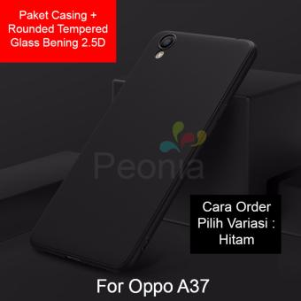 Peonia Anti Fingerprint Premium Quality Grade A Ultraslim Hybrid Case for Oppo A37 / Neo 9 + Rounded Tempered Glass