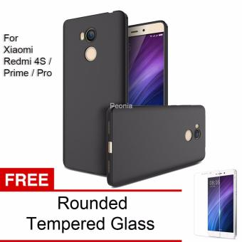 Peonia Anti Fingerprint Ultraslim Hybrid Case for Xiaomi Redmi 4S / Prime / Pro - Hitam + Rounded Tempered Glass