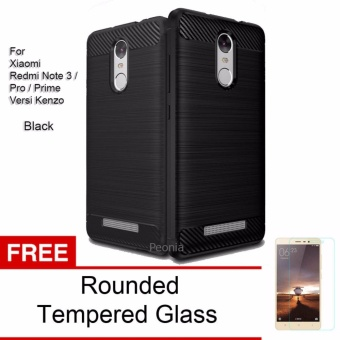 Peonia Carbon Shockproof Hybrid Premium Quality Grade A Case for Xiaomi Redmi Note 3 / Prime / Pro versi Kenzo - Hitam + Rounded Tempered Glass