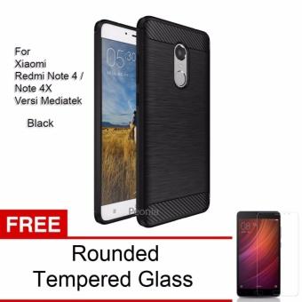 Peonia Carbon Shockproof Hybrid Premium Quality Grade A Case for Xiaomi Redmi Note 4 Versi Mediatek / Redmi Note 4x Mediatek - Hitam + Rounded Tempered Glass