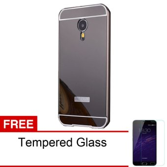 Jual Peonia Meizu M2 Note Mirror Backcase With Metal Aluminium Bumper - Hitam + Gratis Tempered