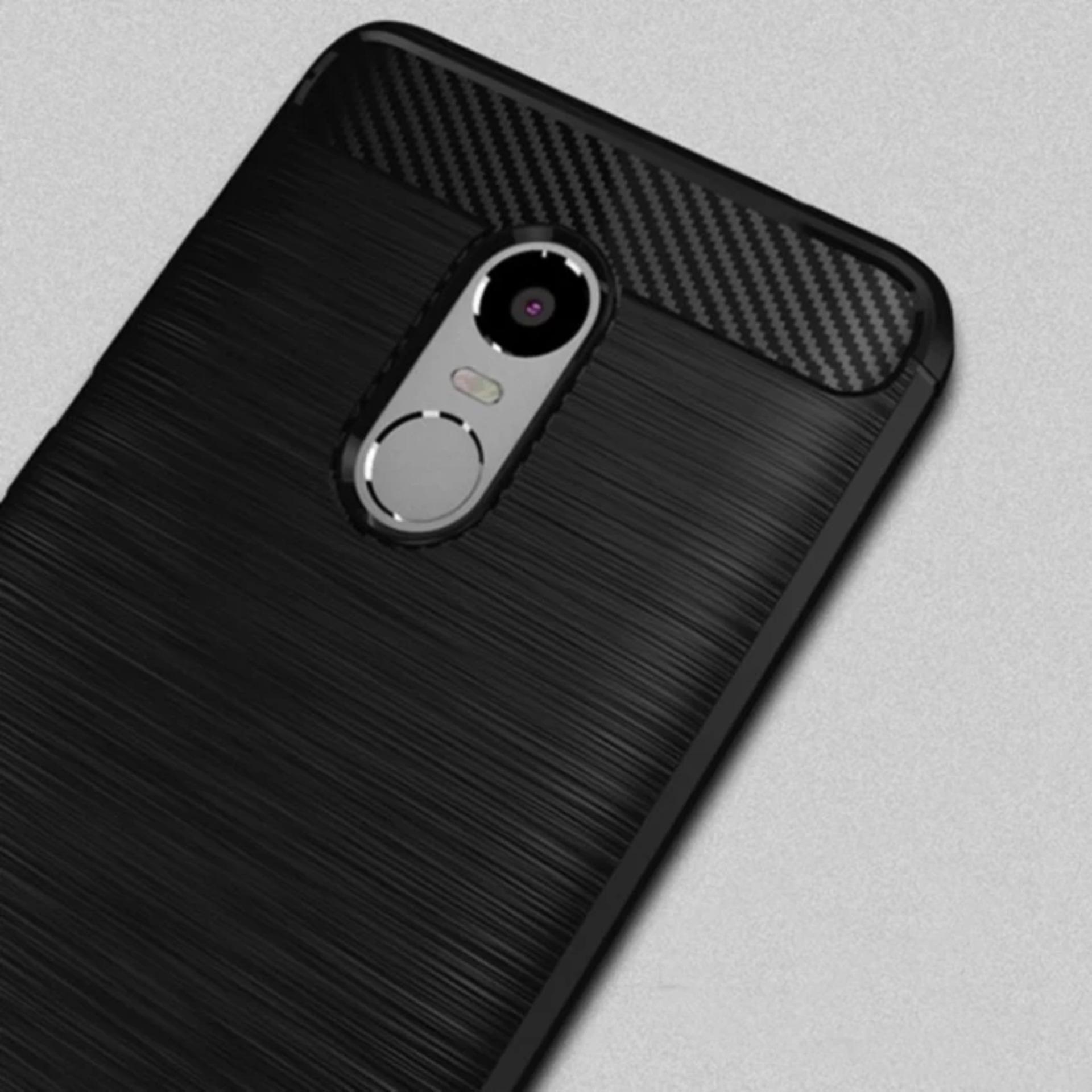 Peonia Premium Carbon Shockproof Hybrid Case for Xiaomi Redmi Note4 Versi Mediatek - Hitam + Rounded ...