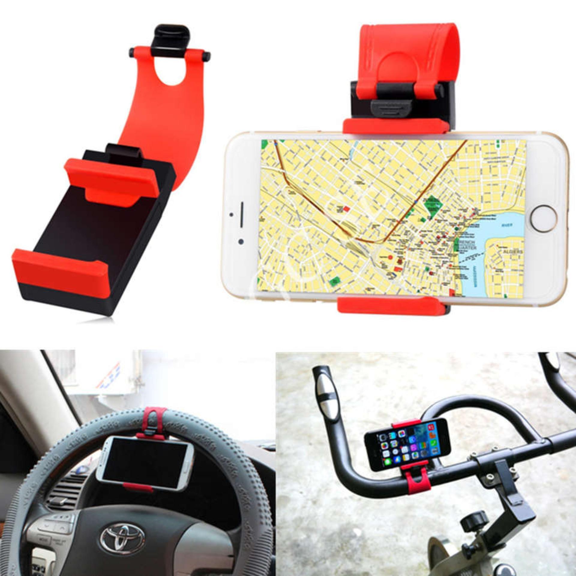 ... Phone Holder Mobil, Motor Dan Sepeda Untuk HP/GPS - Merah + StickyCar Anti ...